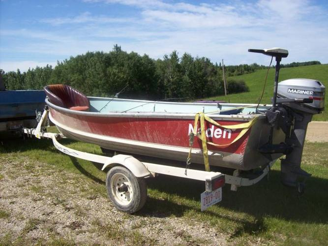 16' Double Lined Aluminum Fishing Motor Boat Overland-R Trailer
