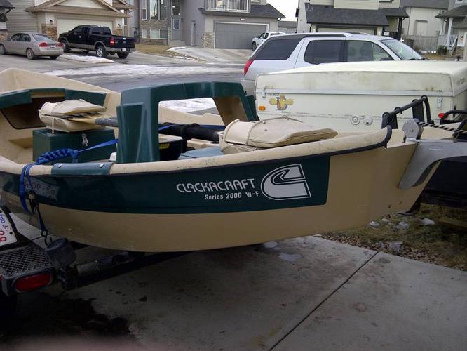 ClackaCraft Drift Boat - Tan and Green