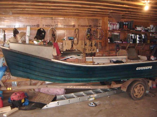 fiberglass oyster boat green in color