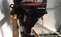 05 15 Hp Mercury outboard. 4 stroke long shaft with tiller handle, charging system, electric and manual start. Runs like new, serviced regularly. Only reason I'm selling is because it won't fit on my new boat