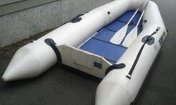 This boat needs some repair...one slow leak easily patched near rear of inflatable side and one in inflatable keel bladder. Floor needs to be re-glued to sides. This boat was used for a short time as a lifeboat for a larger boat and has been stored