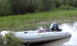 This is an 11' Aquamarine inflatable (heavy duty PVC) boat with a removable aluminum floor. Also includes folding aluminum wheels for easier transport. You can put this boat together in about 15-20 minutes with a decent air compressor to pump it up. It's