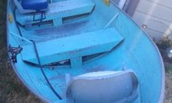 12' aluminum boat for sale. No leaks. Bottom had been painted and over time scratched. Has rod holders. 40lbs electric motor and 3 horse 2 stroke motors available but sold separately. Pictures to be posted.
