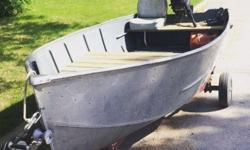 12' aluminum deep V fishing boat for sale. I think it's a Lund, with 9.8hp Mercury 110 (2 stroke) and trailer. Just painted the inside of the hull with marine paint, replaced the seat boards and installed padded drivers seat also put a new winch on the