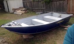 12' duroboat high transom these are great boats no rivets, made from aircraft aluminum, comes with 2006 merc 9.9 which has been little used . both make a good combination suitable for local ocean or lake usage. No trailer, but comes with new danforth