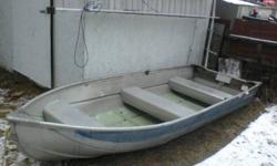 12 footer aluminum boat. Need to make some room so need it gone ASAP. Also have a 5HP motor I would part with for a decent price.