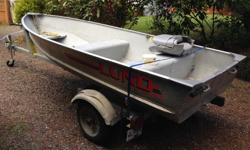 12ft Lund aluminum boat, 6 hp Evinrude motor, EZ loader trailer 2 gas tanks, oars, pfd's and boat cover. Minnkota electric motor and battery, in Deep Bay area.