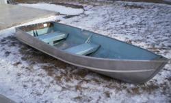 Princecraft 12 ft aluminum cartop boat, Very good shape, rated for 7.5 hp, only used with 33lb thrust elec. Comes with motor, battery, oars, anchor.
