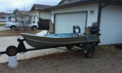12ft aluminum fishing boat with trailer and 9.8hp mercury motor. Boat/trailer in good shape. Motor runs good. Fuel tank, New seats good little fishing boat This ad was posted with the Kijiji Classifieds app.