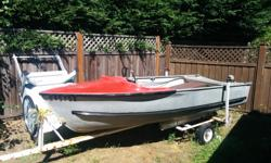 13' aluminum boat in good shape. Riveted hull w/ welded transom and splash well. The boat comes with steering cables and steering wheel. Rated for up to 25hp. Does not come with a motor. Trailer is home made but works very well and tows nicely.