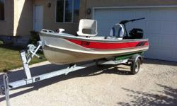 13 ft Thornes Fishing boat with raised fishing platform in bow, two year old 15 horse Mercury 4 stroke engine, Yacht Club Trailer, 30 lb thrust Minn Kota Endura30 trolling motor, Eagle Cuda 128 portable fish finder, 2 paddles, 4 fenders, travel cover, bow