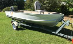 14 foot Aluminum Prince Craft Boat (1976) -Casting Deck -Pedestal Seat -Refurbished rivets and hull -New Carpet -Wired for Electric Trolling Motor -Electric Trolling Motor Mount -Anchor 20 HP Johnson Outboard Motor (1976) -Completely Refurbished -Single