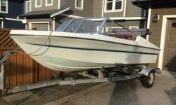 40HP YAMAHA with key start, runs great! New steering system and cable. New battery. Automatic bilge pump. Two rod holders. New Bimini top. Strong trailer with registration paper, new shaft assembly, new trailer jack. I caught some fish last week. Have a