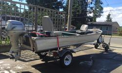 14' Habourcraft boat & trailer 8HP Honda motor with charging system Zeboo depth sounder Rod holder Cover
