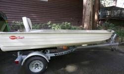 "Selling my 14' X 59"" beam aluminum Mirro Craft Boat. Could use a little bit of work but is ready for the water now. The Road Runner trailer was purchased from Alpine Marine last summer and has never been dipped in the water. This would be a very stable"