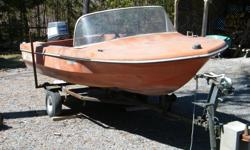 1975 Thundercraft Playmate with 1985 Yamaha 40EL motor and trailer. Boat shows age and has no seats. Motor runs well.