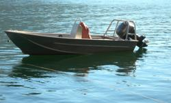 14' Armstrong welded aluminum boat with center console on older trailer. There is no motor, just yamaha controls. Boat is in Sidney.