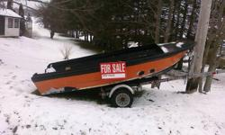 14.5ft fiberglass boat, orange and black in color.  aprox 5 ft wide.  Watertight and travels well acrost the water.  Boat is very stable and not very tippy at all. Could use some paint. Trailor in pictures not included - There is a trailor for the boat