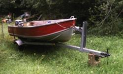 14ft aluminum (spingbox) boat with 9.9 evinrude (short shaft) motor and ez load trailer.  Trailer has been newly painted, new tail lights, locks, inspected.  Includes plastic gas tank (with built in gauge), fuel line, flow-n-go gas can, 2 oars, ropes,