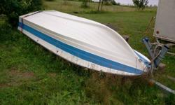 14 foot fiberglass boat. No steering. Excellent condition. Takes a short shaft motor. #500.