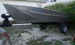 I have a very great condition Alumarine aluminum boat package up for sale. What I mention in this add is what you are getting with it. -14. foot Deep V aluminum Alumarine heavy gauge light boat.3 benches + hull. -Heavy duty trailer with 13 inch tires and