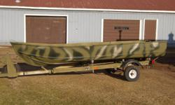14 Foot Aluminum Hunting Boat with Trailer Boat Specs: 14 ft, Camo Paint, No Motor Trailer: Custom Paint, New Wiring, New Tires & Spare. Please call Elsa at 519-428-1334