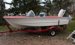 14 foot boat and trailer, comes with 40 hp motor, two swivel seats, two spare tires, and trailer. Will accept $750.00.  Also have a 30 Lbs trolling motor will sell separate for $80.00. Need the boat gone by winter! Great boat! just don't have the time for