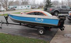 1986 Blue Fin, 14 foot boat in unusually good condition for it's age.  No leaks, dents or significant scratches with obvious little use in it's lifetime.  It has a new pressure treated transom, carpeted wood floors, anchor, mooring lines, paddles, life