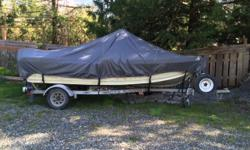 Welded aluminum boat, includes Lowrance Elite 5 sonar GPS, 25HP Yamaha 2 stroke electric start, road runner trailer, 2 Scotty manual downriggers, oars and anchor.