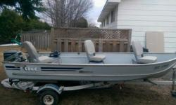 14 foot lowe fishing package, trailer and 15 horse powered evinrude 2 stroke, boat does not leak, and the boat is nice and light you can hand launch 3 OBO, no trades