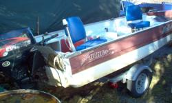 14 foot futura fiberglass boat (niteram) Has live well and swivel seats. 2001 25 hp Evinrude 4 stroke motor Galvinized trailer (just inspected) Comes with 5 gal. and 10 gal. tanks. Works great and good for the sport fisherman. Has some wharf rash could
