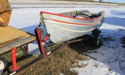 14  ft, Alum. boat  with 3  plastic fold up seats (1 Brand new) Rated  for 15 hp. NO leaks... Might let the trailer go as well  for an extra$450.  call 857-8323 or  cell 857-2555