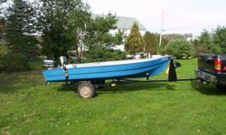 14 ft fiberglass boat with 4.5hp evinrude motor and trailer. $1000.00 firm.