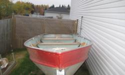 14ft Lund aluminum boat. Good cond. has a tiny leak, maby a coffee can full of water after a day on the lake. May just need caulking. TRAILER NOT INCLUDED