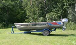 14Ft aluminum boat with trailer and 2009 15Hp Honda 4stroke motor.  Boat and motor in excellent condition