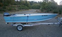 14 ft springbok aluminum boat 66 inches wide, 2014 20 hp yamaha 4 stroke o/b with 40 hrs. on it with 3 years warranty left on it, on a 3 yr. old tuff aluminum trailer. have registration for boat and trailer