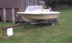 This boat runs well and has newer floor and seats put in.  Trailer is in good shape.  Comes with 2 plastic tanks and a few other pieces of equipment.  $1250 obo, I am willing to trade for a quad or sled or?