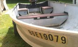 Looking to sell my 14ft Aluminum Boat/Motor/Trailer Comes with Trailer and 20HP Yamaha Outboard (1987) - Runs Great !! Gas Tank Included Boat is older, and is in well used condition!  It does NOT leak! Just replaced the seats in the spring. Trailer is an