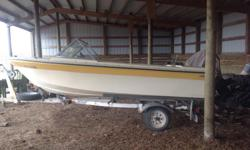 Anchor fibreglass boat, 14 feet, seats four, closed bow, fibreglass in very nice condition, 65 hp 2-stroke Mercury outboard, with electric tilt, new prop, recent carb job & water pump. Trailer in nice condition with new rims/tires and new spare as well,