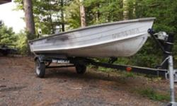 New Easy Haul trailer (bought new in 2009 and never stored outside) with older boat, 9.9 Johnson (mid 80s) which runs well and trolling motor.