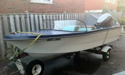 This 14ft. fiberglass boat comes with: seating for four, lines hook ups for steering, fuel and throttle control,  carpeted, fish finder accessories ( sorry can not find fish finder unit, but it will be a bonus if I ever do find it ) - a late 1990's