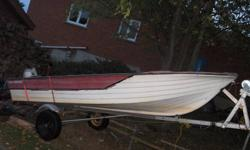 nice 14ft fiberglass fishingboat with a flat floor swivel seats and storage benches. nice stable boat. trailer has new bearings , springs, and larger tires. 9 hp runs excellent and cheap on fuel. 20hp available for more $. no longer required , make an