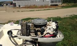 14ft Fiberglas 50HP Johnson out board motor. 1975. Runs good, tuned engine, cleaned the carbs and the gas tank. New battery and gas lines, and new polarizer. With trailer, new lights and wiring.