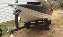 I have a 14ft Fiberglass boat for sale. Boat comes with a 20hp Johnson outboard motor and trailer and a trolling motor. Has oars too and a steering wheel that's not put on in the picture. Floors are brand new in it, comes with two gas tanks as well.