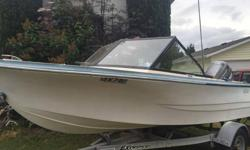 14 ft K&C Thermoglass boat with fully Service 30Hp Mariner outboard and new steering system boat come with down downrigger , compass, depth sounder, boat trailer. it needed notting to go fishing. i just bought myself a sail boat no longer needed this