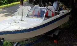14ft, 35hp, engine needs coil, new seats, new gas tank, new trailer lighting, clean boat. Trailer has papers.