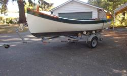 15' caravel planked cedar boat, built in 1996, gumwood keel,yew ribs, honda 5 hp inboard engine ,hurth gear and roadrunner trailer,all in excellent condition $3500 obo