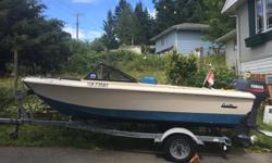 This 15.5 ft Boat is a modified Deep- V hull that can handle the ocean or lake , Great fishing Boat or can be used to tow the kids on a tube, kneeboard or water skiis, Is very seaworthy, Comes with Easy load galvanized Trailer with sealed led lights,