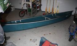 Excellent condition! 15' Coleman canoe 5 wooden oars 3 Life jackets 1 Emergency throw rope bag Car top carrier system This is a great deal, hardly used. Well over $1000.00 value! Thanks for looking 462-8091