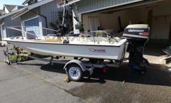15' Foot Boston Whaler (good condition) with roadrunner trailer. 55hp Johnson Seahorse (Commercial Model). 7.5hp Evinrude kicker. Stored in garage. Wired for Scotty downriggers. 2 Manual Scotty downriggers included. New Marine Battery. Portable Fish